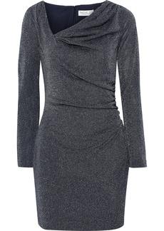 Rachel Zoe Woman Mallory Draped Metallic Stretch-knit Mini Dress Navy