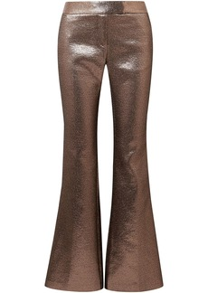 Rachel Zoe Woman Metallic Crepe Flared Pants Bronze