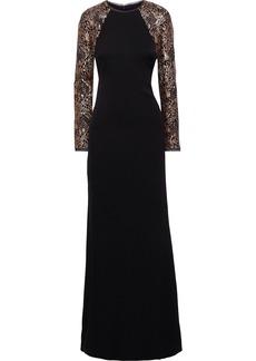 Rachel Zoe Woman Miabella Sequin-embellished Tulle-paneled Crepe Gown Black