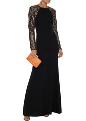 Rachel Zoe Woman Miabella Sequin-embellished Tulle-paneled Crepe Gown Black