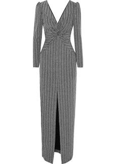 Rachel Zoe Woman Nava Twist-front Metallic Ribbed-knit Gown Silver