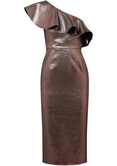 Rachel Zoe Woman One-shoulder Metallic Woven Midi Dress Bronze