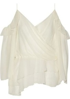 Rachel Zoe Woman Renee Cold-shoulder Asymmetric Crinkled Silk-chiffon Top Ecru
