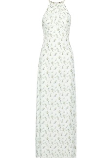 Rachel Zoe Woman Ruched Floral-print Twill Gown White