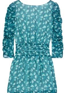 Rachel Zoe Woman Ruched Printed Chiffon Mini Dress Teal