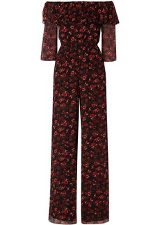 Rachel Zoe Woman Samura Off-the-shoulder Floral-print Silk-georgette Jumpsuit Black