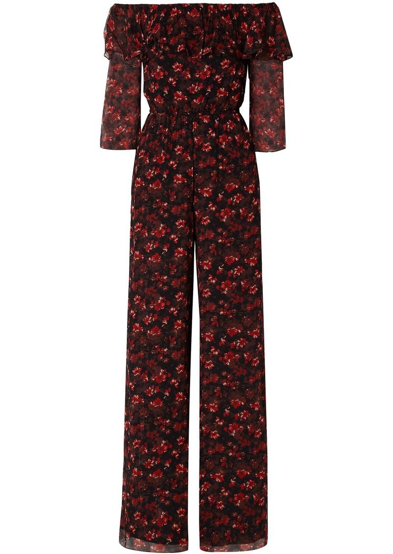 Rachel Zoe Woman Samura Off-the-shoulder Floral-print Silk-georgette Jumpsuit Black