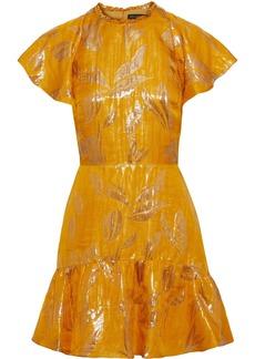Rachel Zoe Woman Sorrene Ruffled Metallic Jacquard Mini Dress Marigold