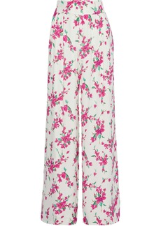 Rachel Zoe Woman Steph Pleated Floral-print Crepe Wide-leg Pants White