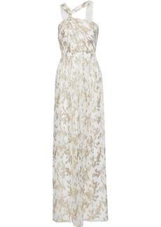 Rachel Zoe Woman Twist-front Metallic Fil Coupé Silk-blend Chiffon Gown Off-white