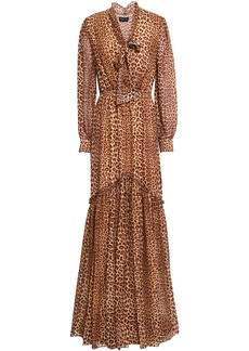 Rachel Zoe Woman Verushka Pussy-bow Leopard-print Silk Crepe De Chine Maxi Dress Animal Print