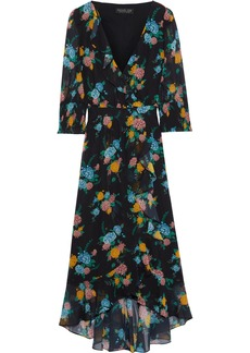 Rachel Zoe Woman Wrap-effect Floral-print Chiffon Midi Dress Black