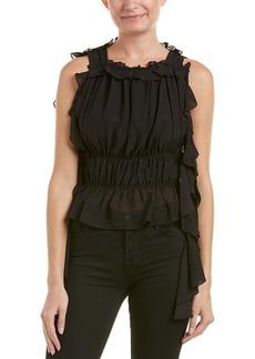 Rachel Zoe Women's Bonnie Cold Shoulder Ruffle Top  M