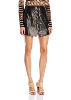 Rachel Zoe Women's Danae Button Front Leather Skirt