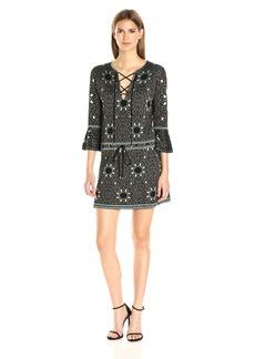 Rachel Zoe Women's Tenley Jacquard Dress Black/Turquoise XS
