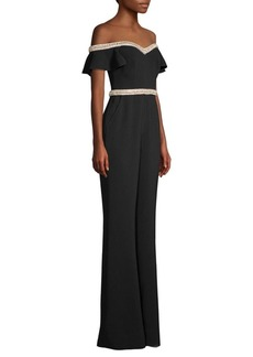 Rachel Zoe Reeda Embellished Off-The-Shoulder Jumpsuit