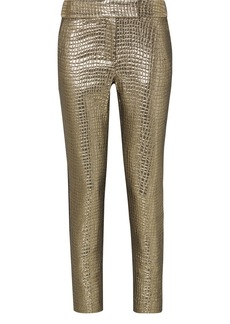 Rachel Zoe Skyla Grosgrain-trimmed Metallic Croc-effect Jacquard Slim-leg Pants