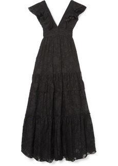 Rachel Zoe Violet Ruffled Fil Coupé Cotton And Silk-blend Gown