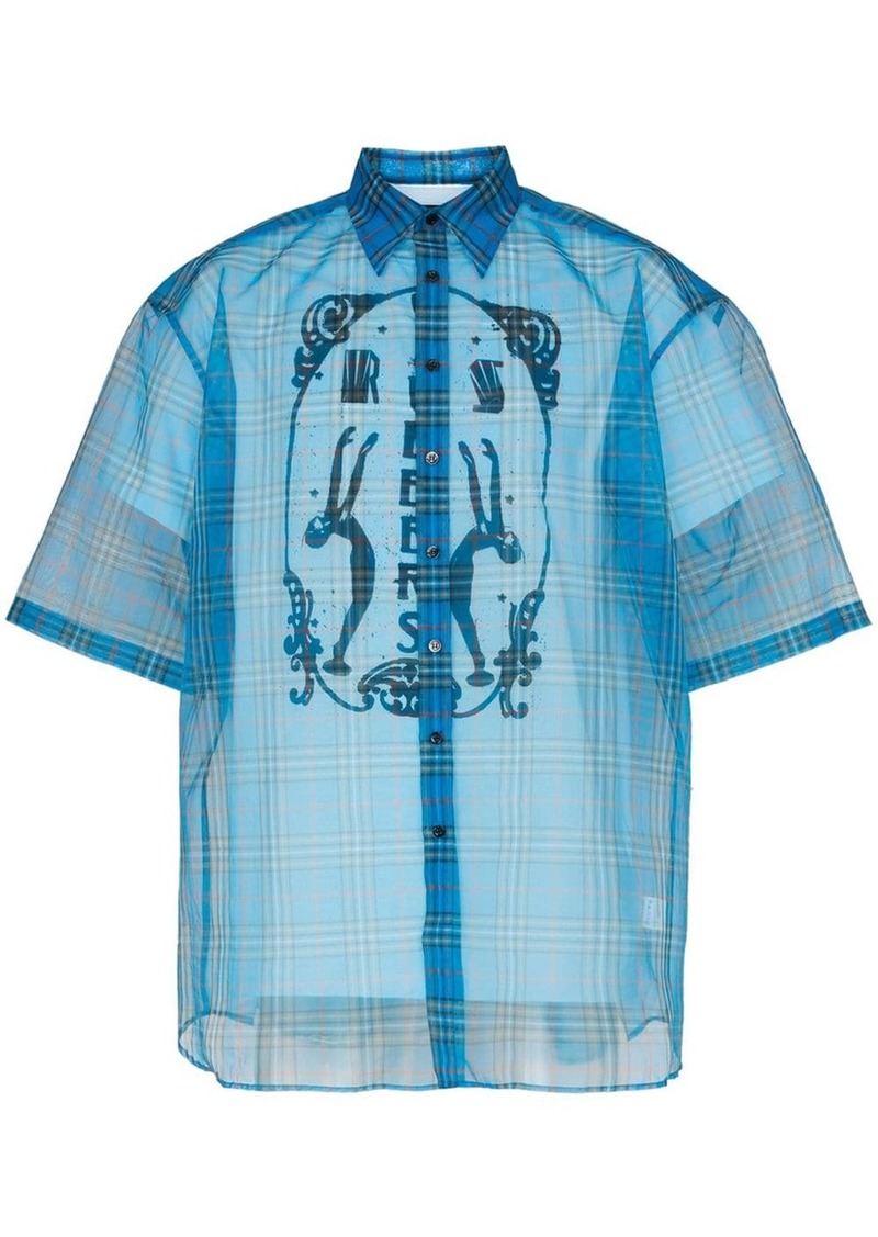 Raf Simons check print double layer sheer cotton blend shirt