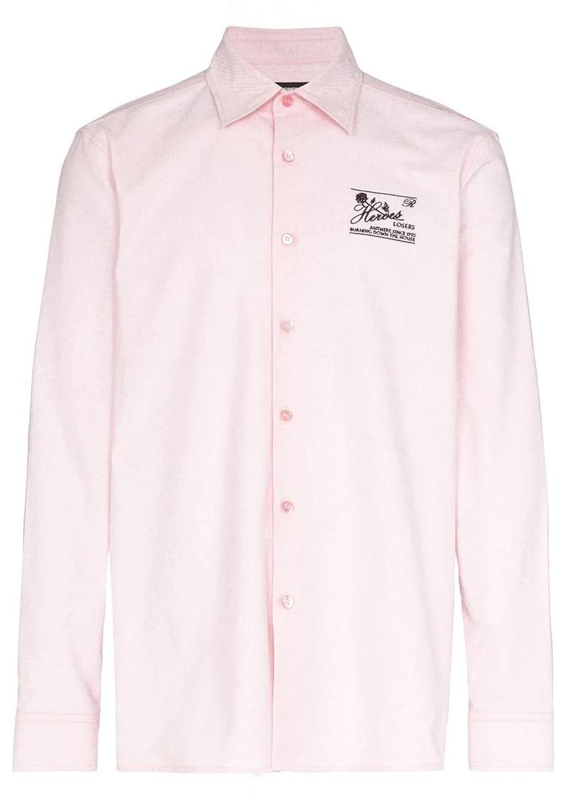 Raf Simons embroidered slim fit cotton shirt