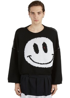 Raf Simons Oversize Smiley Virgin Wool Knit Sweater