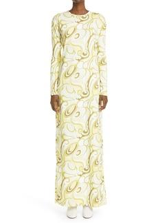 Raf Simons Long Sleeve Print Jersey Dress