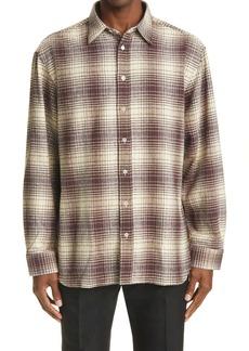 Raf Simons Oversize Plaid Flannel Button-Up Shirt