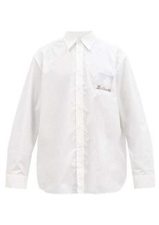 Raf Simons Photo-patch oversized cotton-poplin shirt