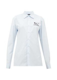 Raf Simons Slim-fit logo-embroidered cotton-poplin shirt