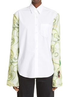 Raf Simons Swirl Print Silk & Cotton Shirt