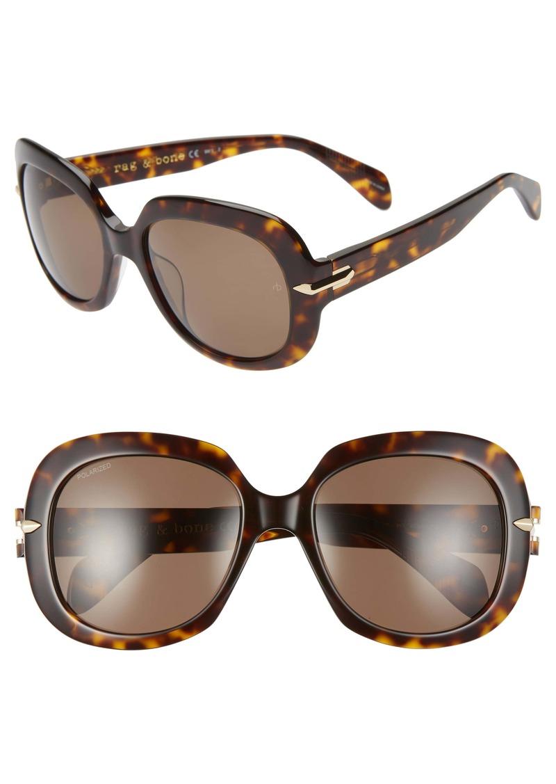 rag & bone 55mm Polarized Square Sunglasses