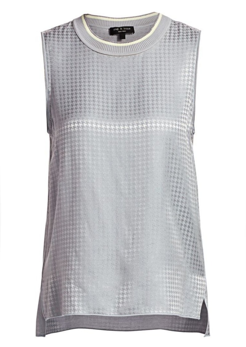 rag & bone Ali Houndstooth Silk Shell Tank Top