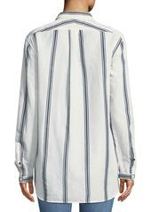 Rag & Bone Alyse Button-Down Striped Cotton-Linen Shirt