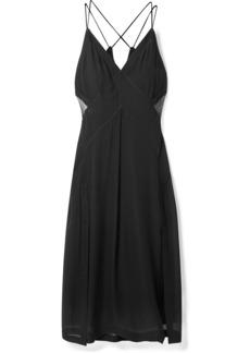 Rag & Bone Anais Tulle-paneled Silk-georgette Midi Dress