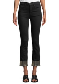 Rag & Bone Ankle Cigarette Jeans w/ Metallic Cuffs