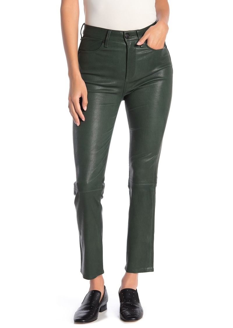 High Waisted Lambskin Leather Pants