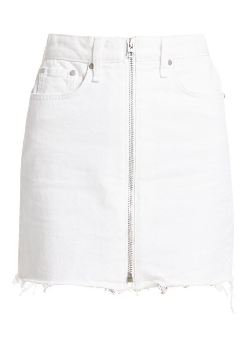 rag & bone Anna Raw Hem Zip Denim Skirt