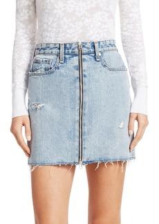 rag & bone Anna Zip Distressed Denim Mini Skirt