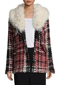 Rag & Bone Antoine Weave Lamb Shearling-Trimmed Plaid Jacket
