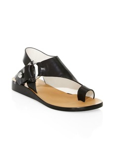 Rag & Bone Arc Leather Stacked-Heel Toe Ring Sandals