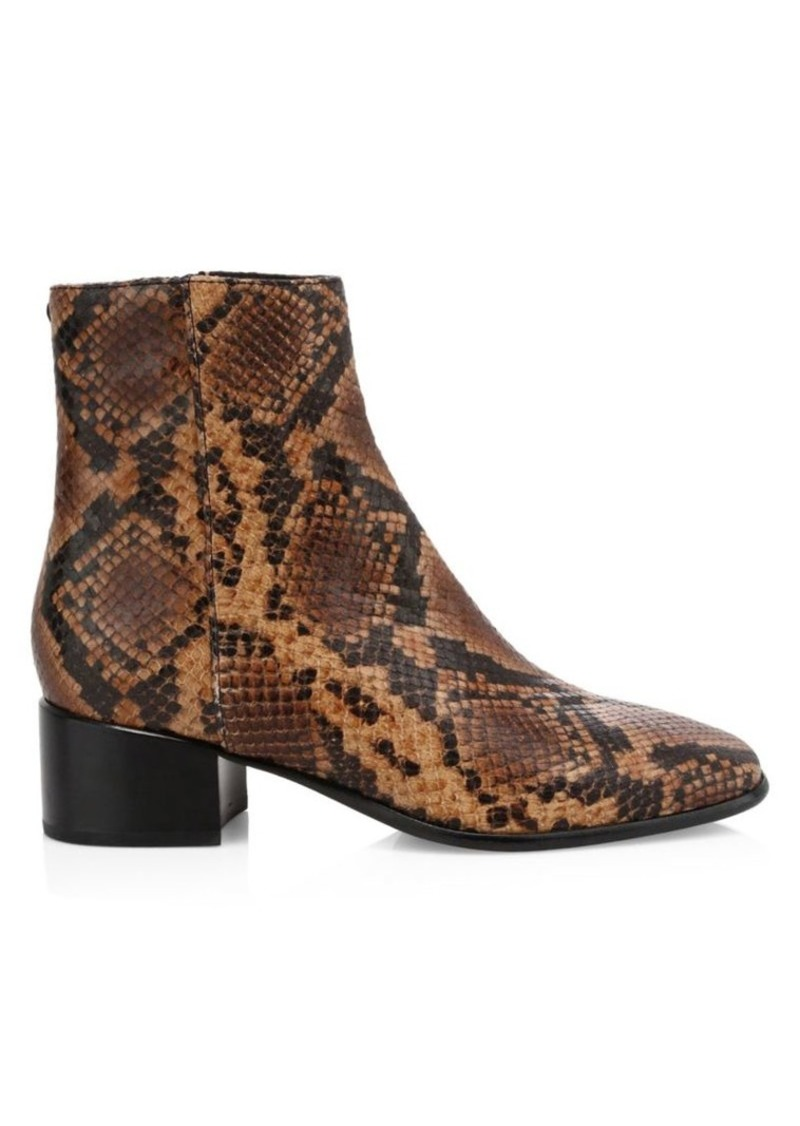 rag & bone Aslen Snakeskin-Embossed Leather Ankle Boots