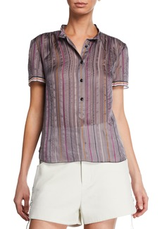 Rag & Bone Austin Striped Button-Front Silk Top