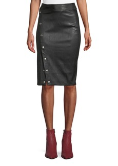 Rag & Bone Baha Leather Snap-Up Pencil Skirt
