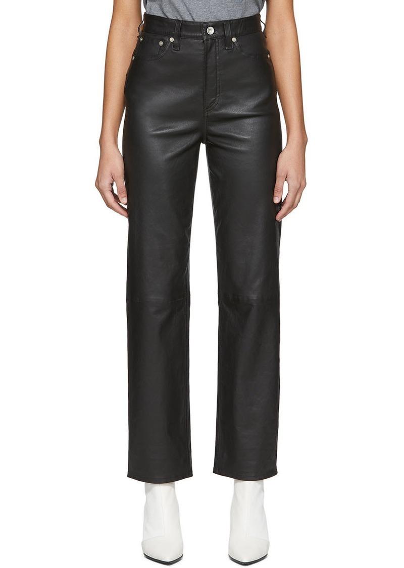 rag & bone Black Leather Jane Super High-Rise Cigarette Trousers