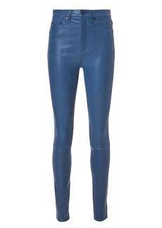 Rag & Bone Blue Skinny Leather Pants