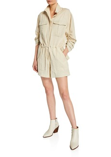 rag & bone Boa Button-Front Short Jumpsuit