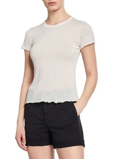 rag & bone Bre Swiss Dot Crewneck Short-Sleeve Tee