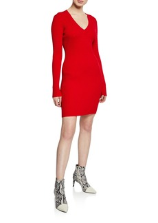 Rag & Bone Brea Ribbed V-Neck Mini Sweater Dress