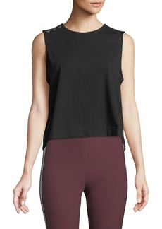 Rag & Bone Brit Sleeveless Crewneck Crop Top w/ Snaps