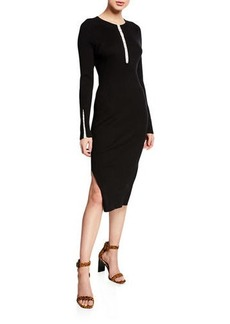 Rag & Bone Brynn Ribbed Long-Sleeve Hook-Front Dress
